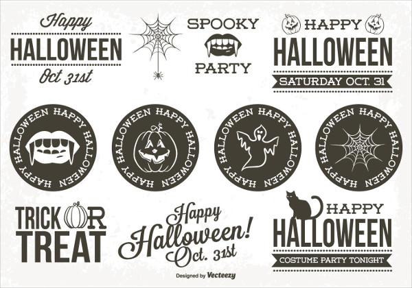 Retro Style Halloween Label Design Set Free