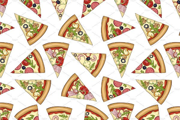 Seamless Color Pattern with Pizza
