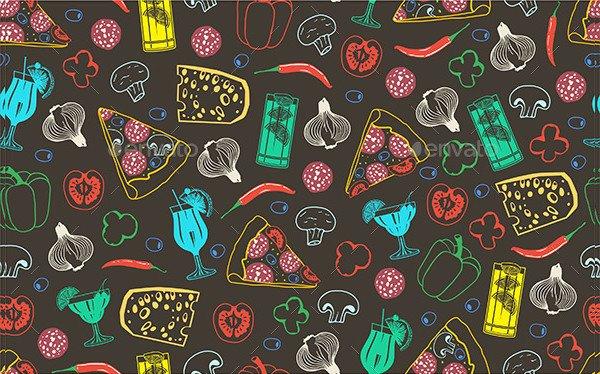 Seamless Pattern of Pizza