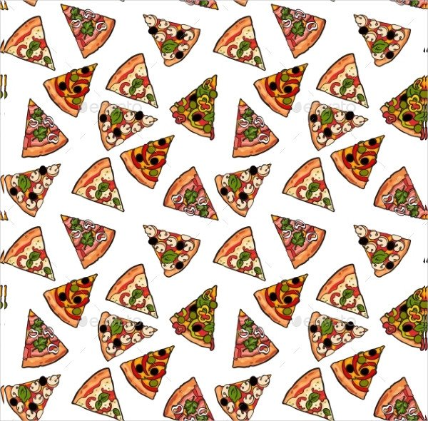 Seamless Pattern of Various Pizza Slices