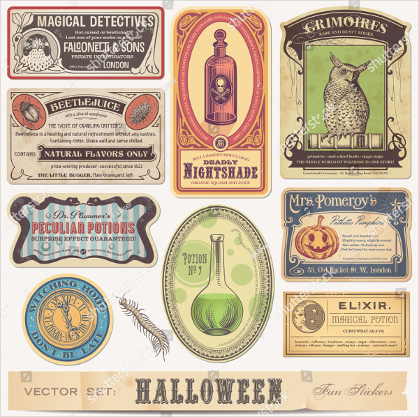 Set of Funny Halloween Label Template