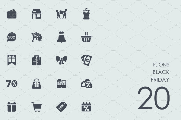 Simple Black Friday Icons Set