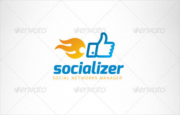 Social Media Thumb Up Fire Creative Logo
