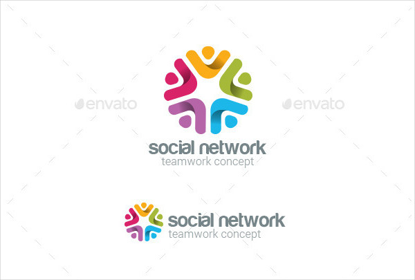 Social Team Work Web Media Logo