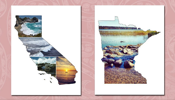 State Shaped Photo Templates