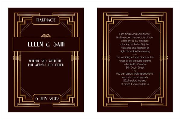 Stylish Art Deco Wedding Invitation