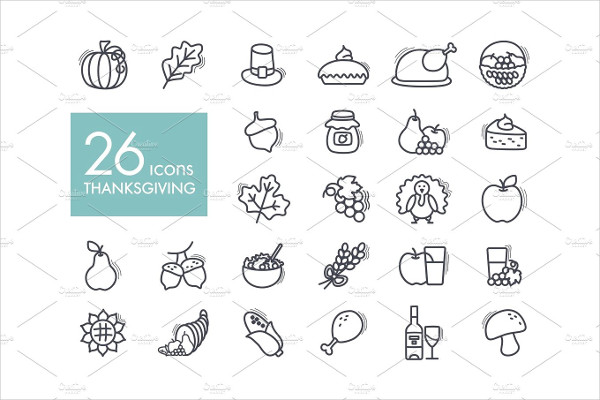 Thanksgiving Day Outline Icons Set