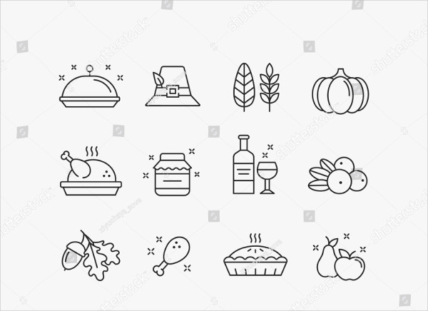 Thanksgiving Day Outline Vector Icon Set