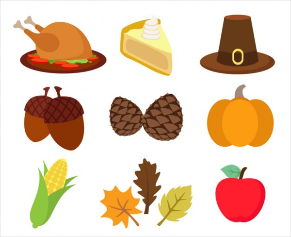 Thanksgiving Flat Icons Set Free Download