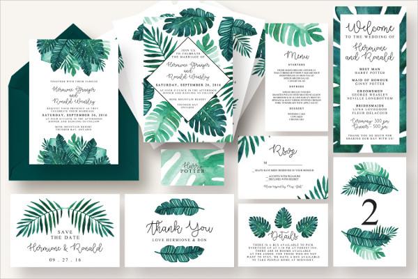 Tropical Leaves Invitation Suite