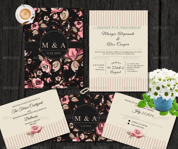 Vintage Flowery Wedding Invitation