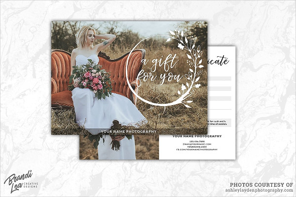Wedding Photography Gift Certificate Template
