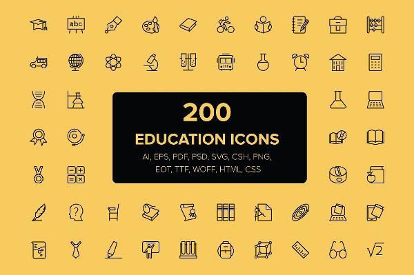 200 Unique Education Icon Pack