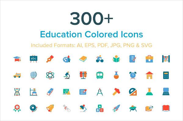 300+ Education Colored Icon Set