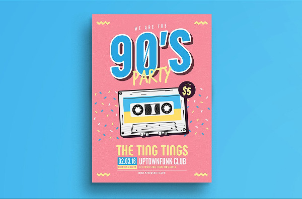 90's Music Party Poster Template