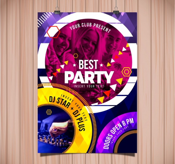 Abstract Party Poster Template Free