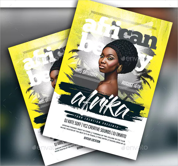 African Beauty Party Flyer Template