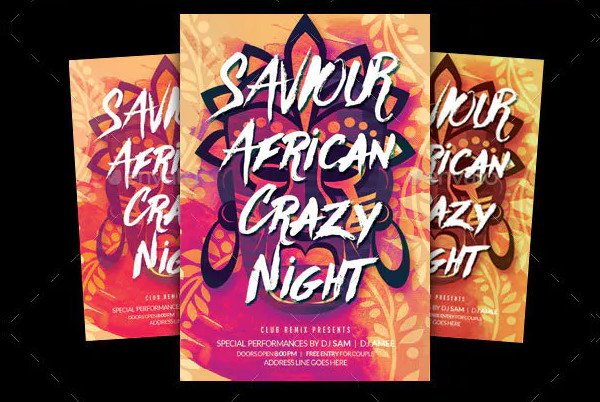 African Crazy Party Flyer
