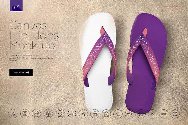 Canvas Flip Flops Mock-Up
