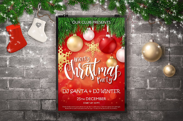 Christmas DJ Party Posters with Lettering