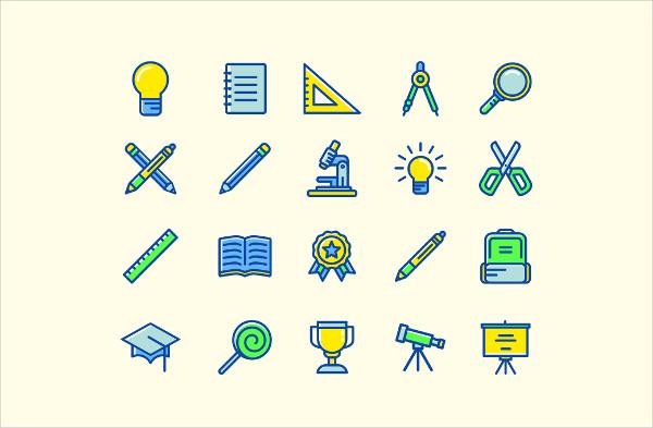 Clean Education Icon Set