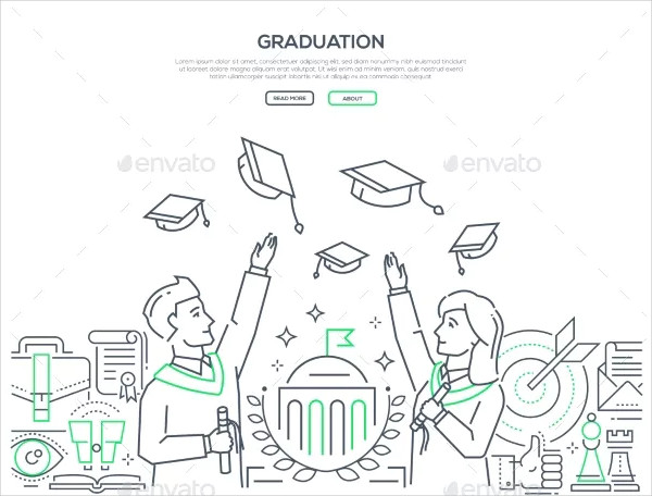 Colorful Line Design Style Web Banner for Graduation