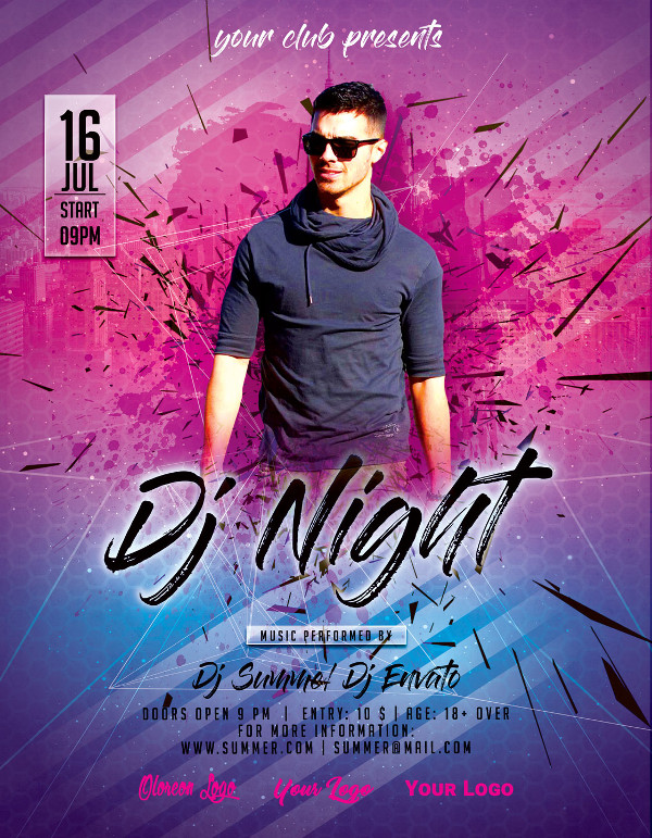 DJ Night Summer Party Poster Template