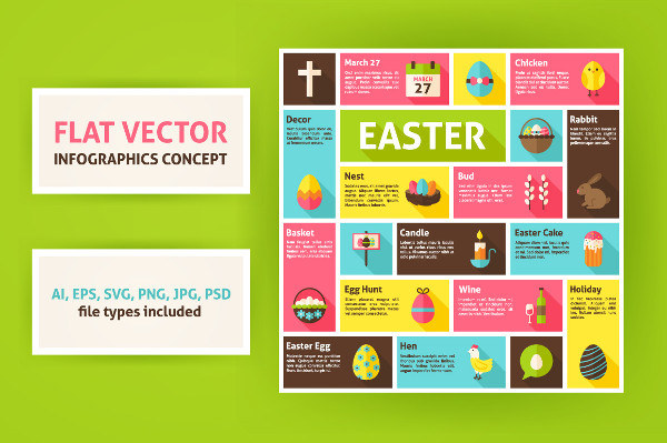 Easter Vector Flat Infographics