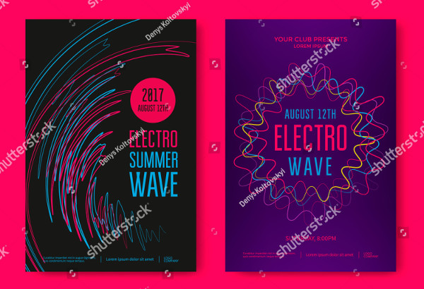 Electro Summer Wave Music Poster