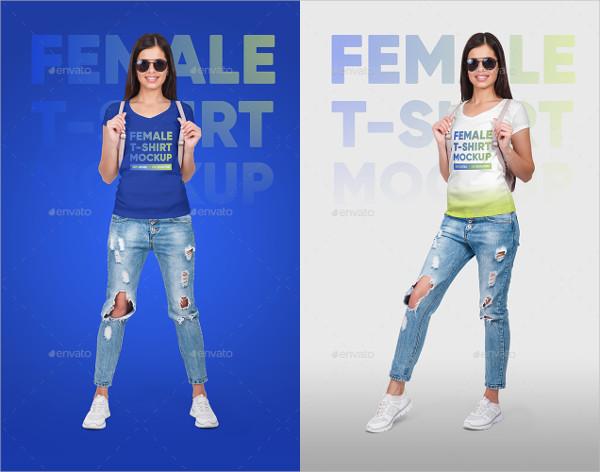 Female V-Neck T-Shirt and Backpack Mockups