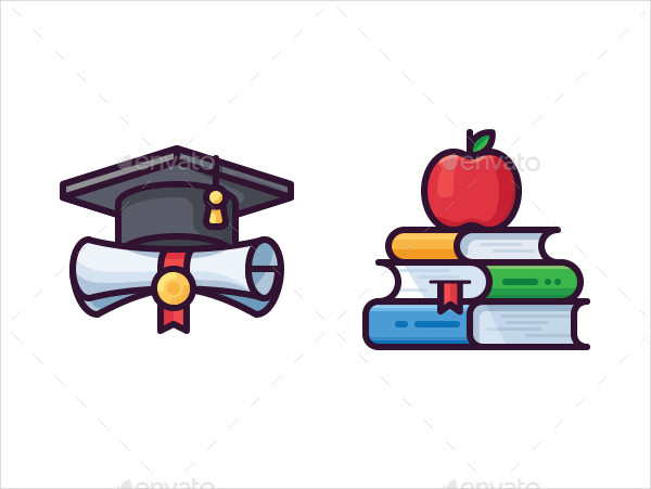 Filled Outline Education Vector Icon Set