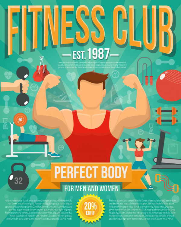 Fitness Club Poster with Sports Equipment Free