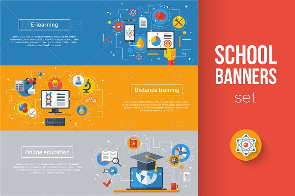 Flat Design Education Banners