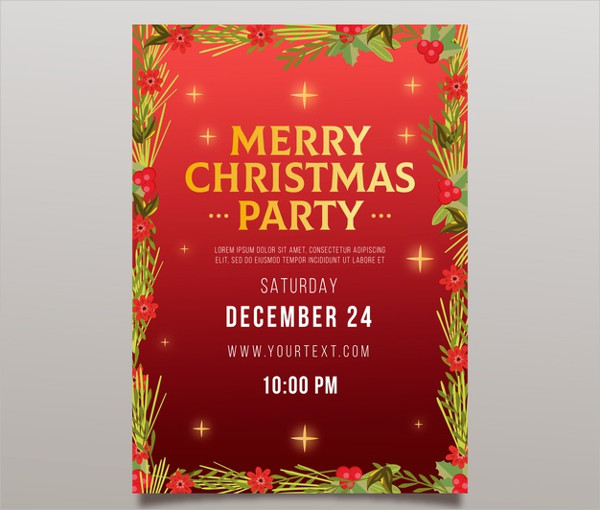 Floral Christmas Party Flyer Free