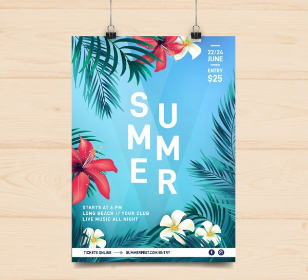 Free Floral Summer Party Flyer Download