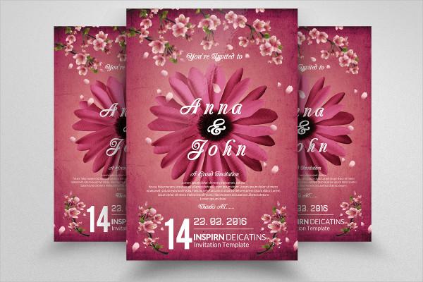 Floral Wedding Invitation Flyer