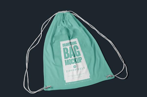 Free Fabric Drawstring Backpack Mock-Up