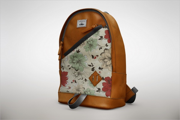 Free PSD Floral Bagpack Mock-Up