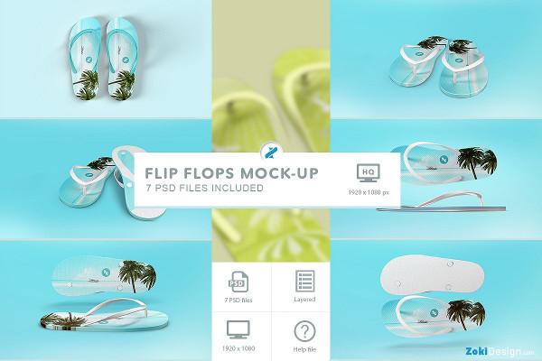 Fully Editable Flip Flops Mockup