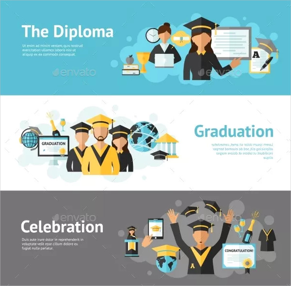 Graduation Horizontal Banner Set with Diploma Elements