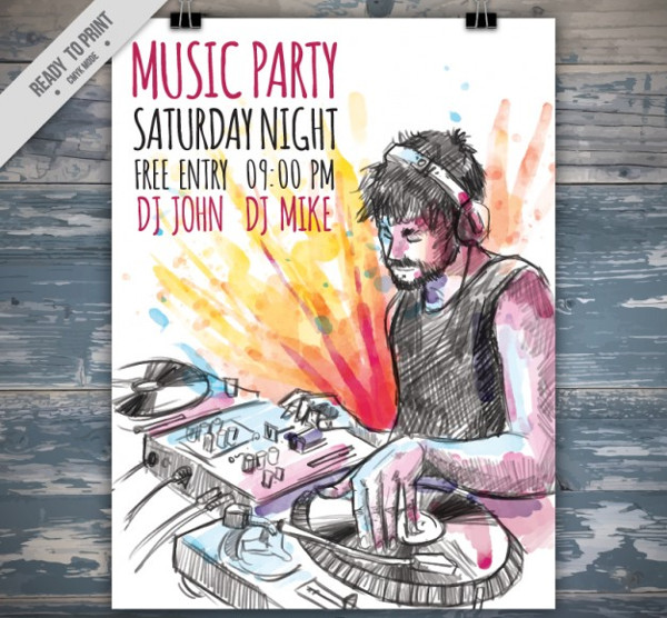 Hand Drawn DJ Music Party Poster Free Download