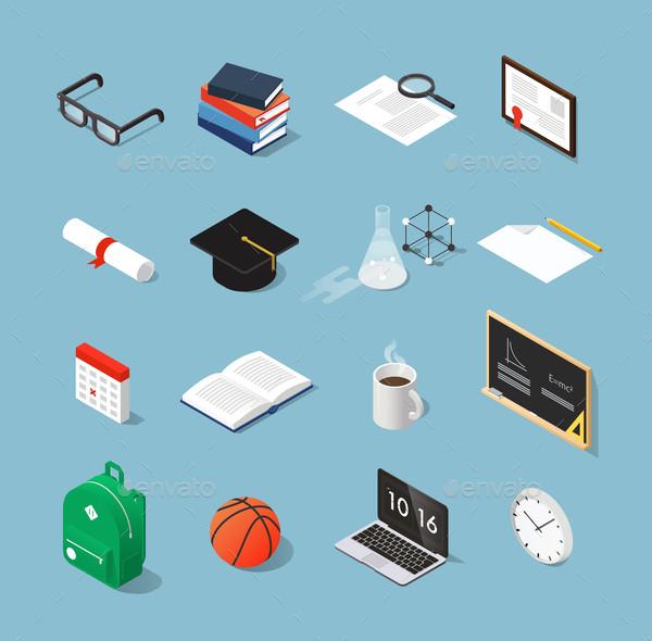 Isometric Education Icon Set