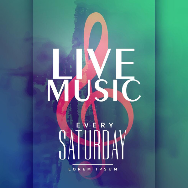Live Music Event Poster Design Template Free