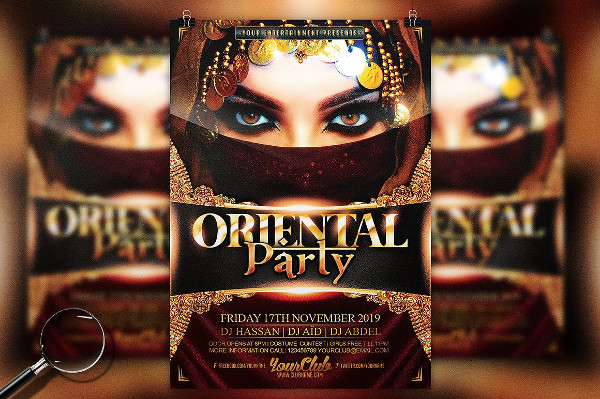 Oriental Party Gold Flyer Template