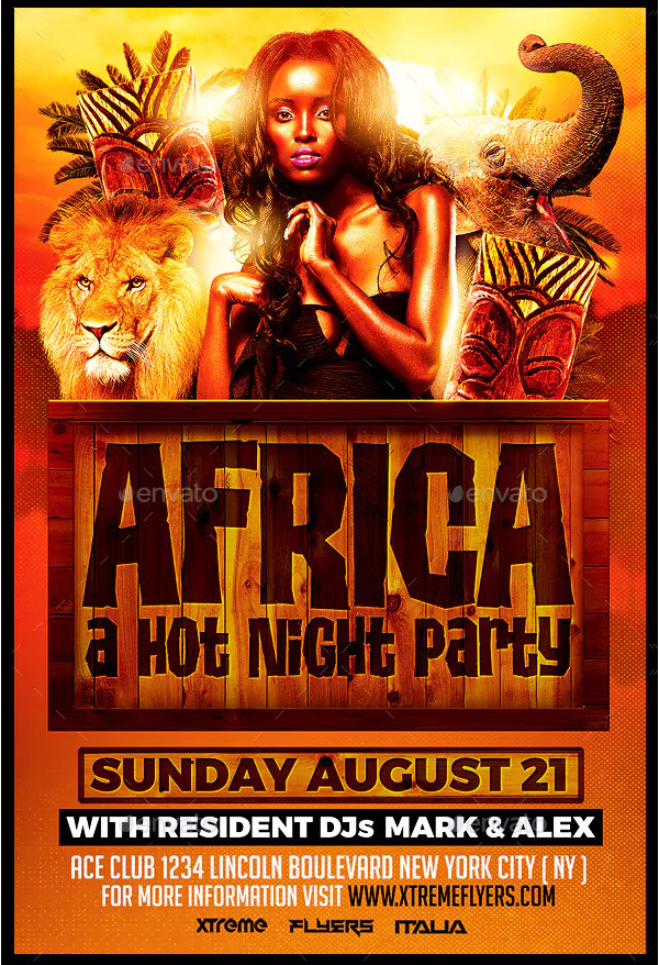 PSD Africa Party Flyer Design