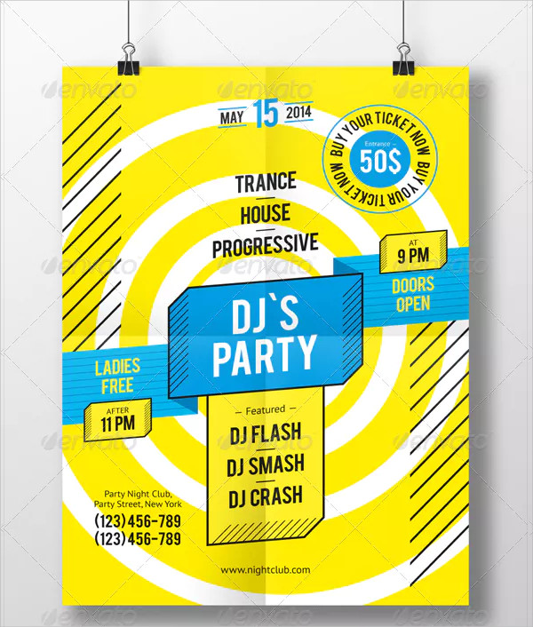 Print DJ Party Poster Template