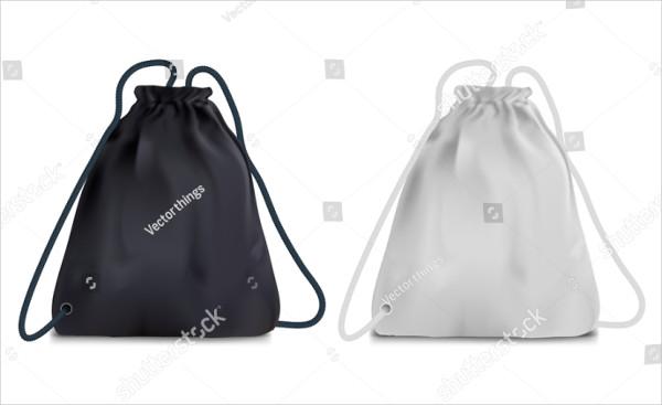 Realistic Black And White Sports Backpack Bag