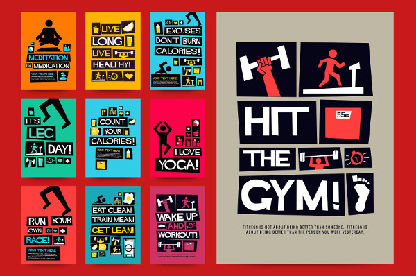 Set of 10 Fitness Motivation Posters