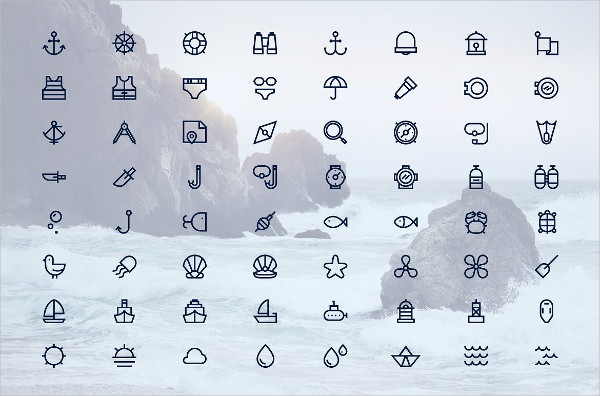 Set of 64 Outline Nautical Icons