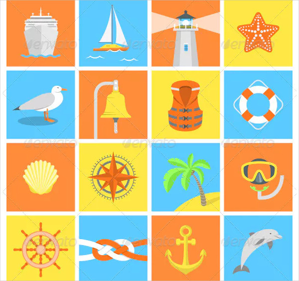 Set of Modern Flat Square Icons for Nautical